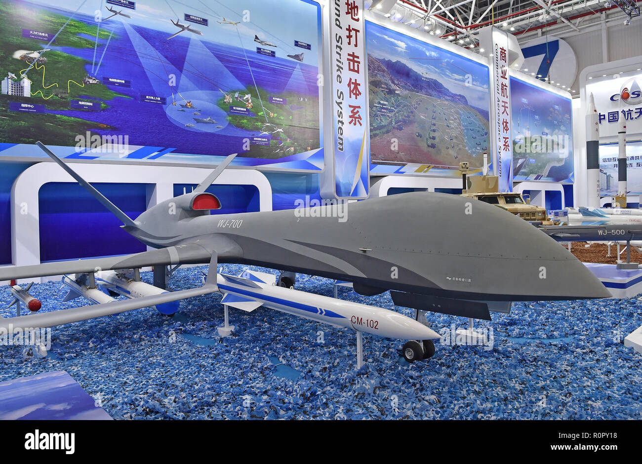 Zhuhai. 5th Nov, 2018. Photo taken on Nov. 5, 2018 shows WJ-700 unmanned aircraft system exhibited at the 12th China International Aviation and Aerospace Exhibition (Airshow China) in Zhuhai, south China's Guangdong Province. The average annual growth rate of the global unmanned aircraft system (UAS) industry will maintain at over 20 percent, and its cumulative output value will exceed 400 billion U.S. dollars in 10 years, according to a white paper released Tuesday. Credit: Liang Xu/Xinhua/Alamy Live News - Stock Image