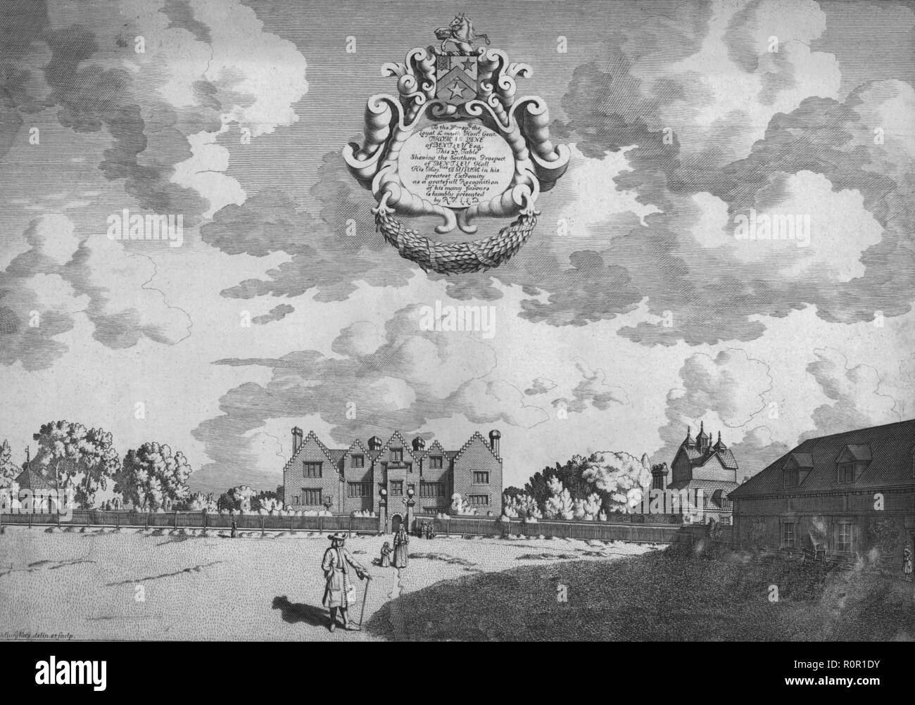 'Bentley Hall (Southern Prospect)', c1686. View of Bentley Hall in Staffordshire, known as one of the country houses where King Charles II hid during his flight after the Battle of Worcester in 1651. - Stock Image
