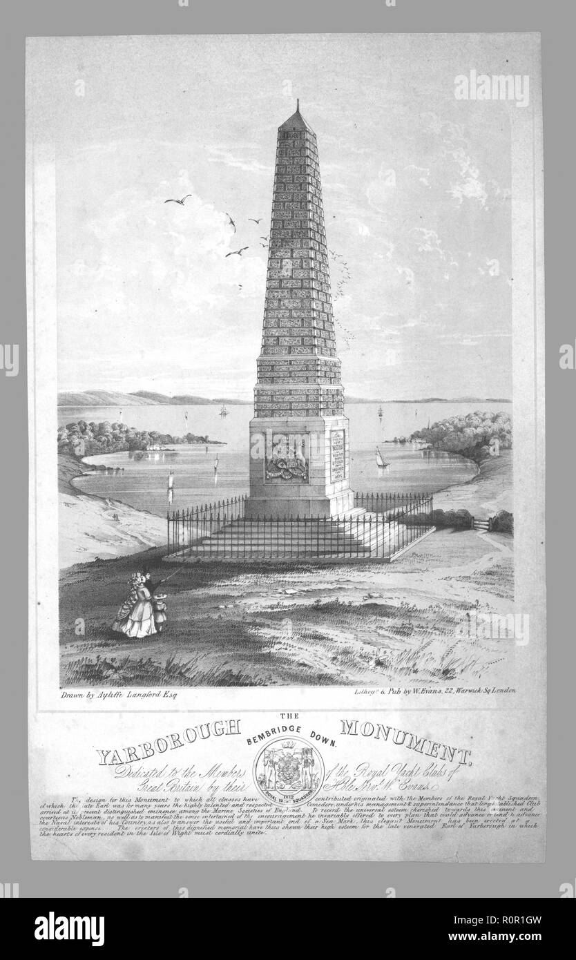 'The Yarborough Monument, Bembridge Down', late 19th century. Granite obelisk on Culver Down, Isle of Wight, erected in 1849 in memory of Charles Anderson-Pelham, created 1st Earl of Yarborough in 1837. Anderson-Pelham founded the prestigious Royal Yacht Squadron in Cowes. Stock Photo