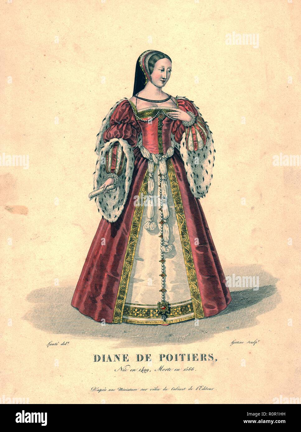 Diane de Poitiers, (early 19th century). Portrait of Diane de Poitiers (1499-1566), chief mistress of King Henry II of France. She wears a chaperon headress, a pink velvet surtout with puffed and slashed sleeves trimmed with ermine and gold embroidery, with a knotted belt. Engraving after a miniature on vellum. - Stock Image