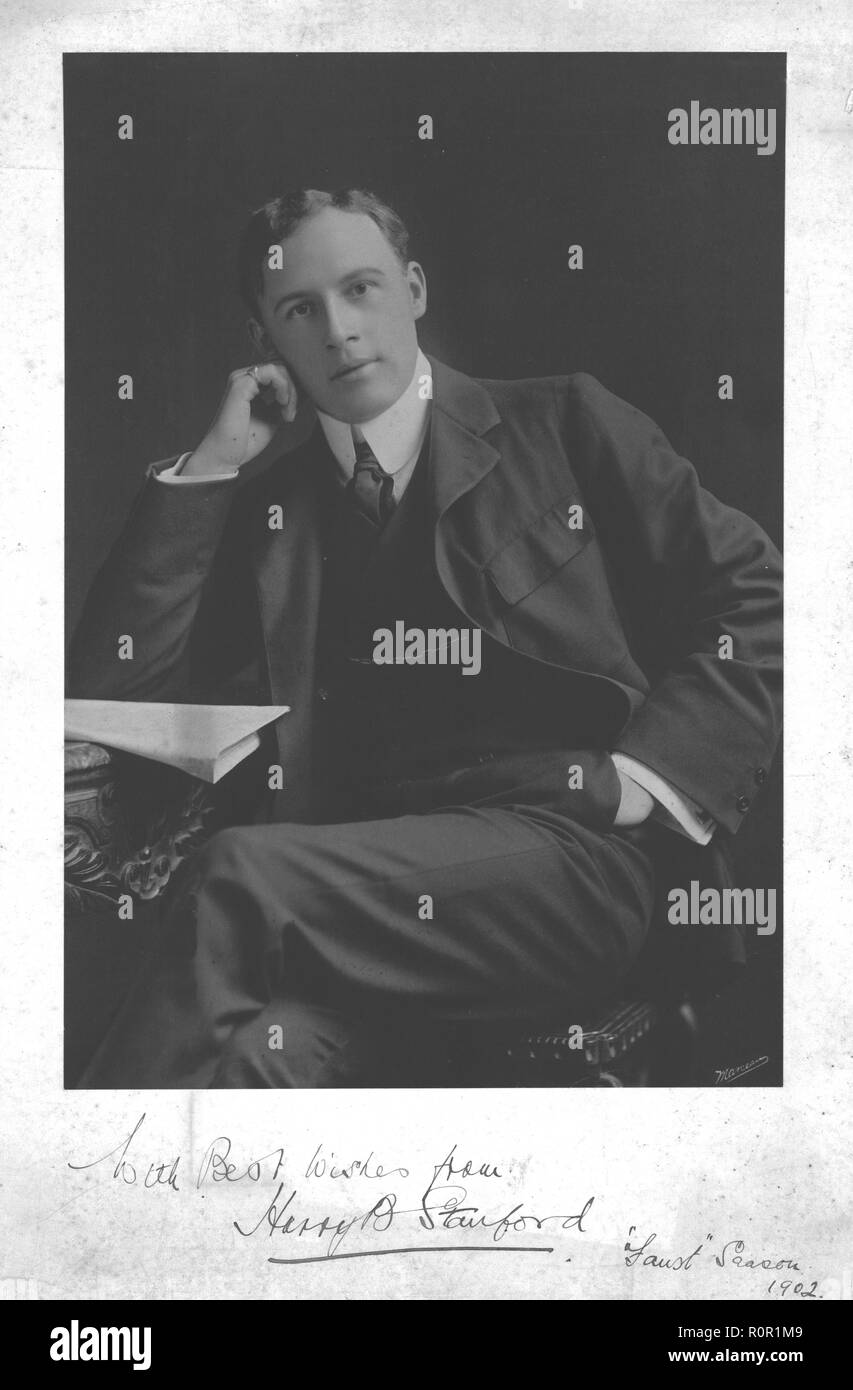Harry B Stanford, 1902. Portrait photograph inscribed: 'With best wishes from Harry B Stanford, Faust Season 1902'. - Stock Image