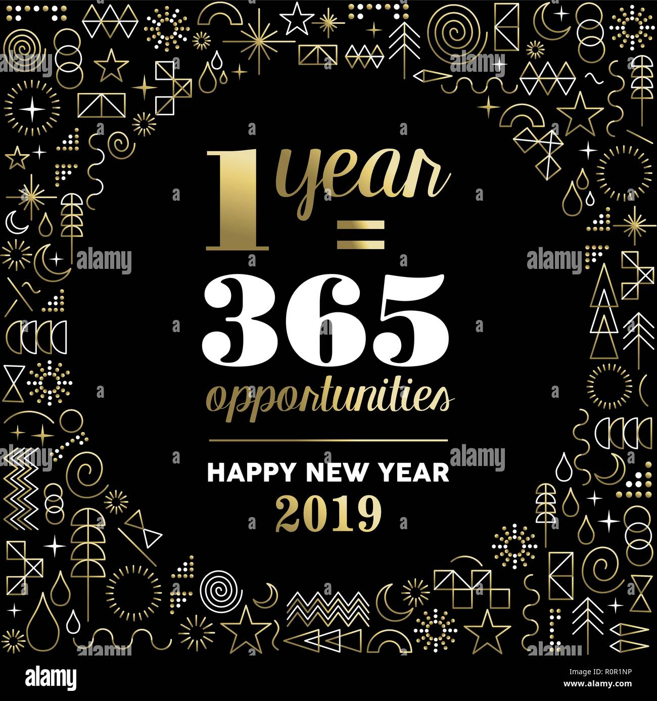 Happy new year 2019 inspiration quote poster with geometry ...
