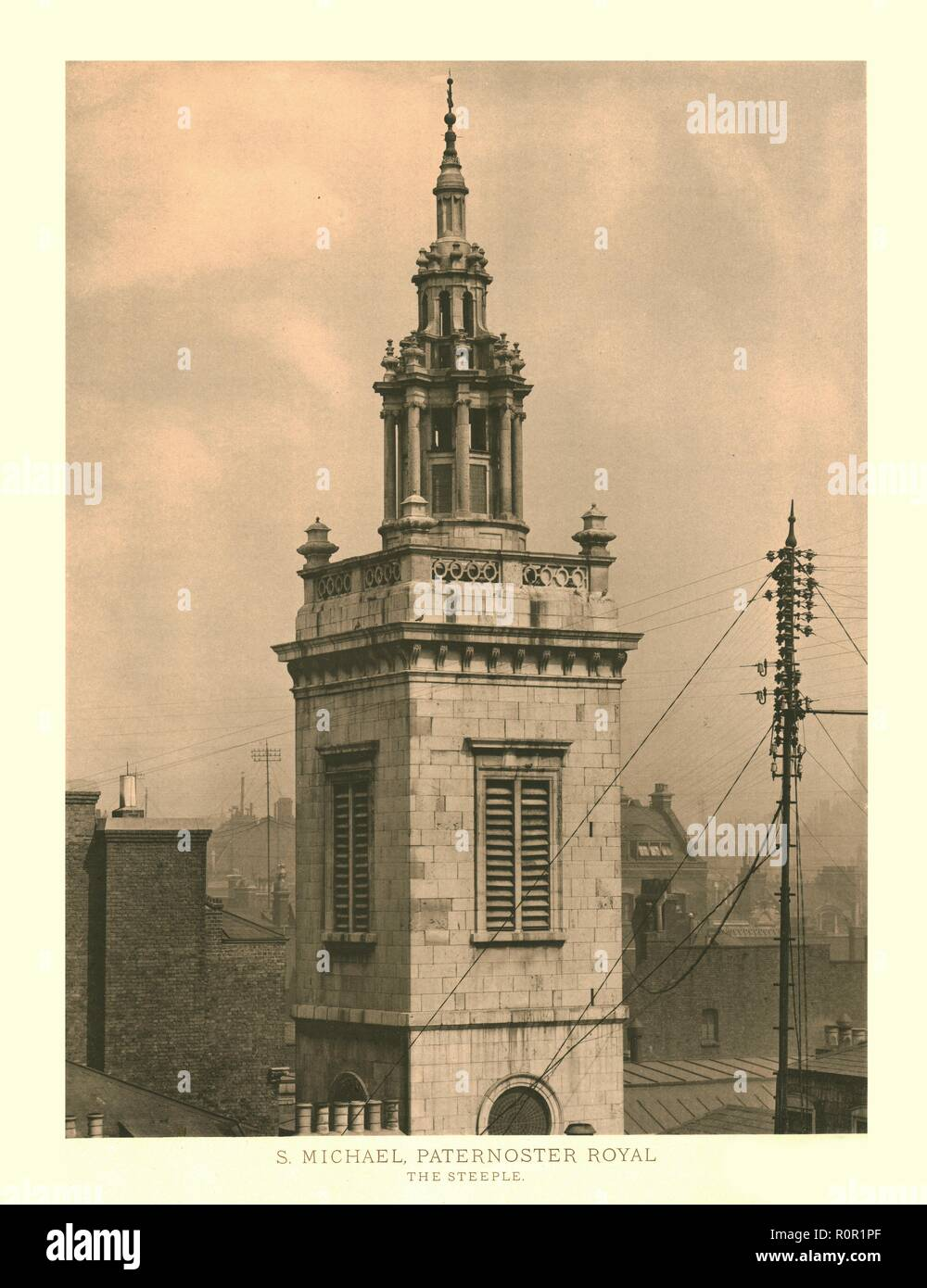 'St Michael, Paternoster Royal, The Steeple', mid-late 19th century. One of a set of views of baroque London churches. The church of St Michael Paternoster Royal on College Hill, Dowgate, in the City of London, was built by Christopher Wren in 1686-1694. - Stock Image