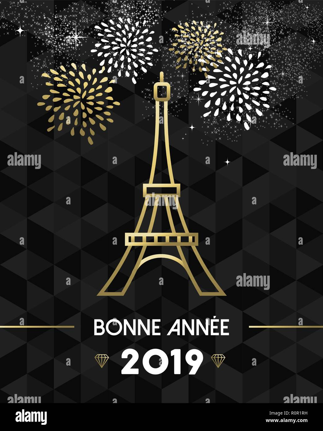 happy new year 2019 paris greeting card with france monument eiffel tower in gold outline style