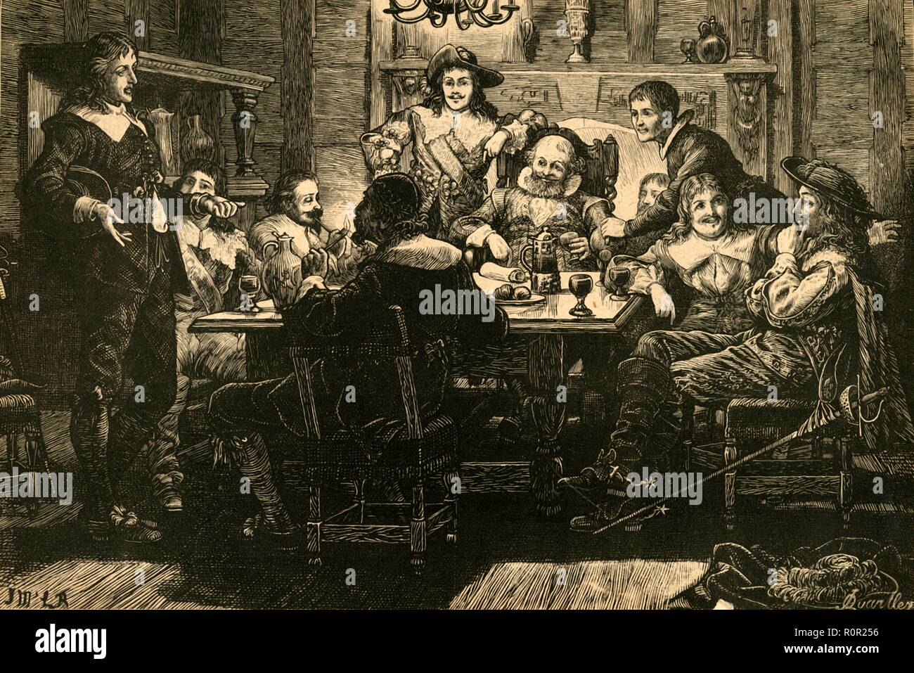 'Introduction of Randolph to Ben Jonson at the Devil Tavern', (1897). 19th century depiction of poet Thomas Randolph (1605-1635) meeting playwright, actor and literary critic Ben Jonson in the Devil and Saint Dunstan tavern near Temple Bar in London. From Old and New London, Volume I, by Walter Thornbury. [Cassell and Company, Limited, London, Paris & Melbourne, 1897] From Old and New London, Volume I, by Walter Thornbury. [Cassell and Company, Limited, London, Paris & Melbourne, 1897] - Stock Image