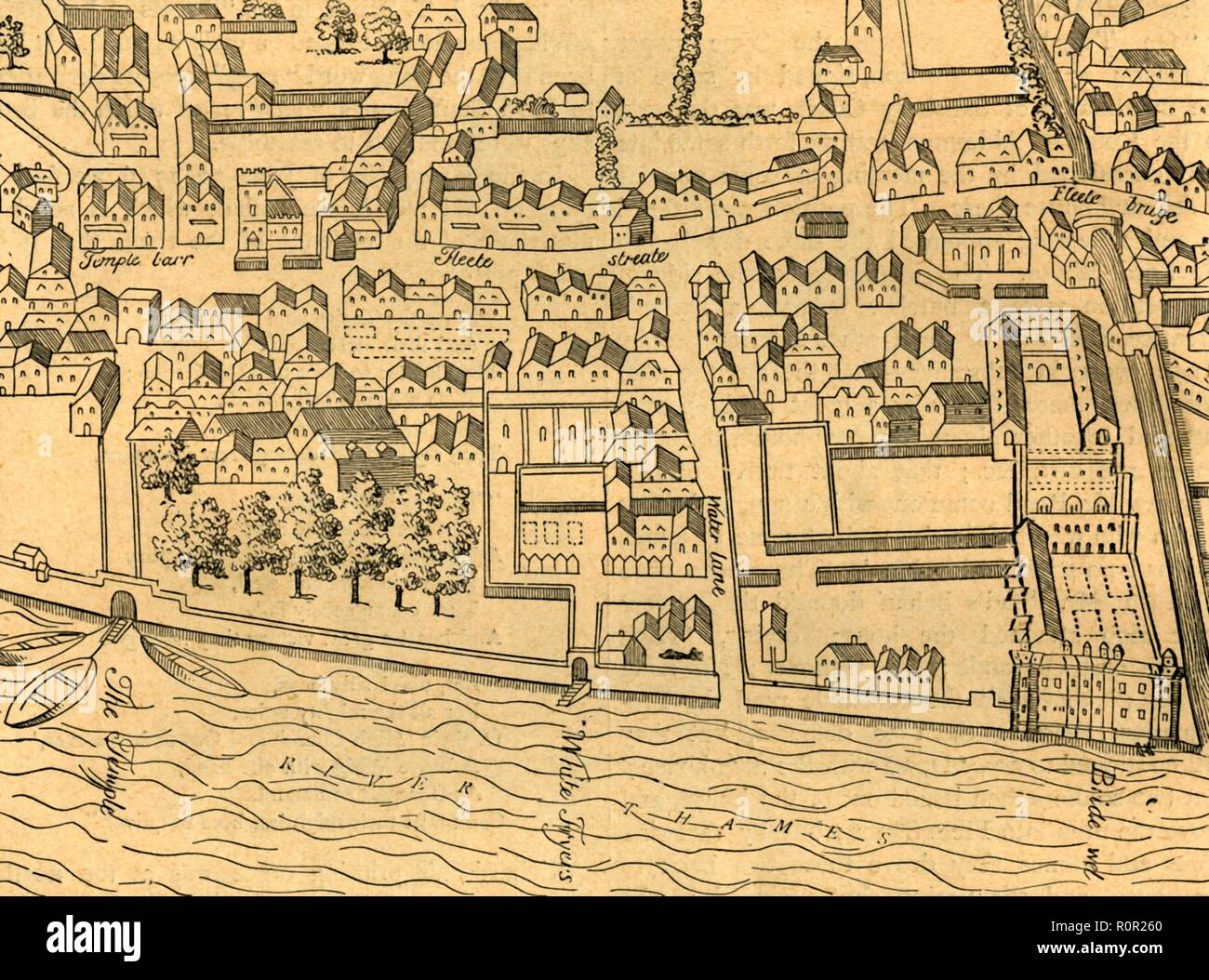 'Fleet Street, The Temple, Etc.', (1897). Map showing London as it was in the 16th century or so. On the right is Bridewell, on the banks of the Fleet River between Fleet Street and the River Thames. Bridewell Palace was later an orphanage, place of correction for wayward women, prison and a poorhouse. It was closed in 1855. Also shown is Temple Bar. From Old and New London, Volume I, by Walter Thornbury. [Cassell and Company, Limited, London, Paris & Melbourne, 1897] - Stock Image