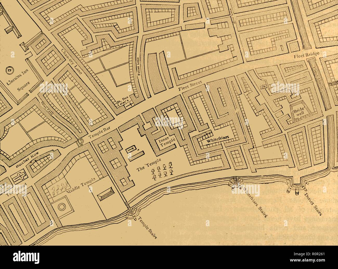 'Fleet Street, The Temple, Etc., From a Map of London, Published 1720', (1897). Map showing the Inns of Court at Temple and Lincoln's Inn, Whitefriars, the River Fleet, Bridewell, and stairs down to the River Thames. From Old and New London, Volume I, by Walter Thornbury. [Cassell and Company, Limited, London, Paris & Melbourne, 1897] - Stock Image