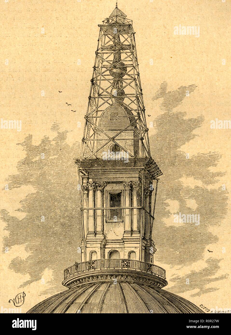 'The Scaffolding and Observatory on St. Paul's in 1848', (1897). Observation post built by officers of the Royal Engineers on top of the cross on St Paul's Cathedral in London. Triangulation measurements were taken from here in order to make a new map of London. The map was used to plan drastic improvements to the methods of drainage and sewage disposal, in order to prevent cholera epidemics in the capital. From Old and New London, Volume I, by Walter Thornbury. [Cassell and Company, Limited, London, Paris & Melbourne, 1897] - Stock Image