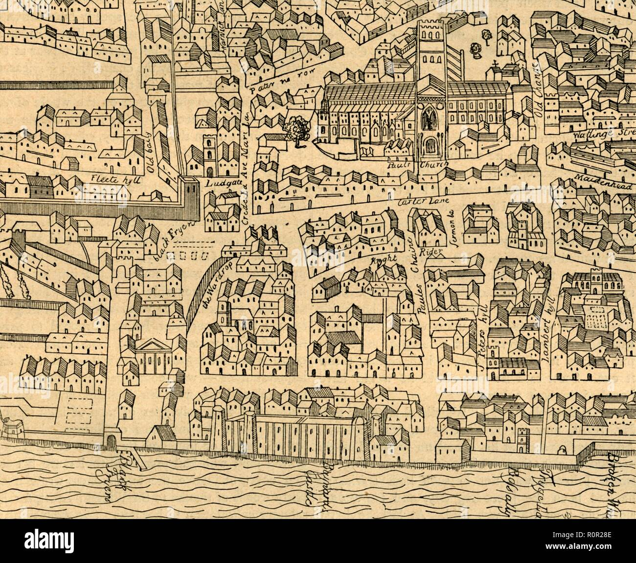 'St. Paul's and Neighbourhood', (1897). Map based on Aggas's plan of 1563, showing St Paul's Cathedral in the City of London. Also marked are the old city walls and Ludgate, with the River Thames at the bottom. From Old and New London, Volume I, by Walter Thornbury. [Cassell and Company, Limited, London, Paris & Melbourne, 1897] Stock Photo