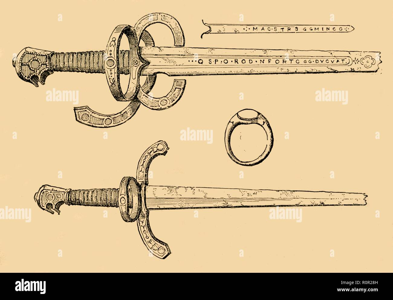'Sword, Dagger and Ring of King James IV, of Scotland', 1897. Items said to have belonged to James IV (1473-1513), preserved in the Heralds' College in London. From Old and New London, Volume I, by Walter Thornbury. [Cassell and Company, Limited, London, Paris & Melbourne, 1897] - Stock Image