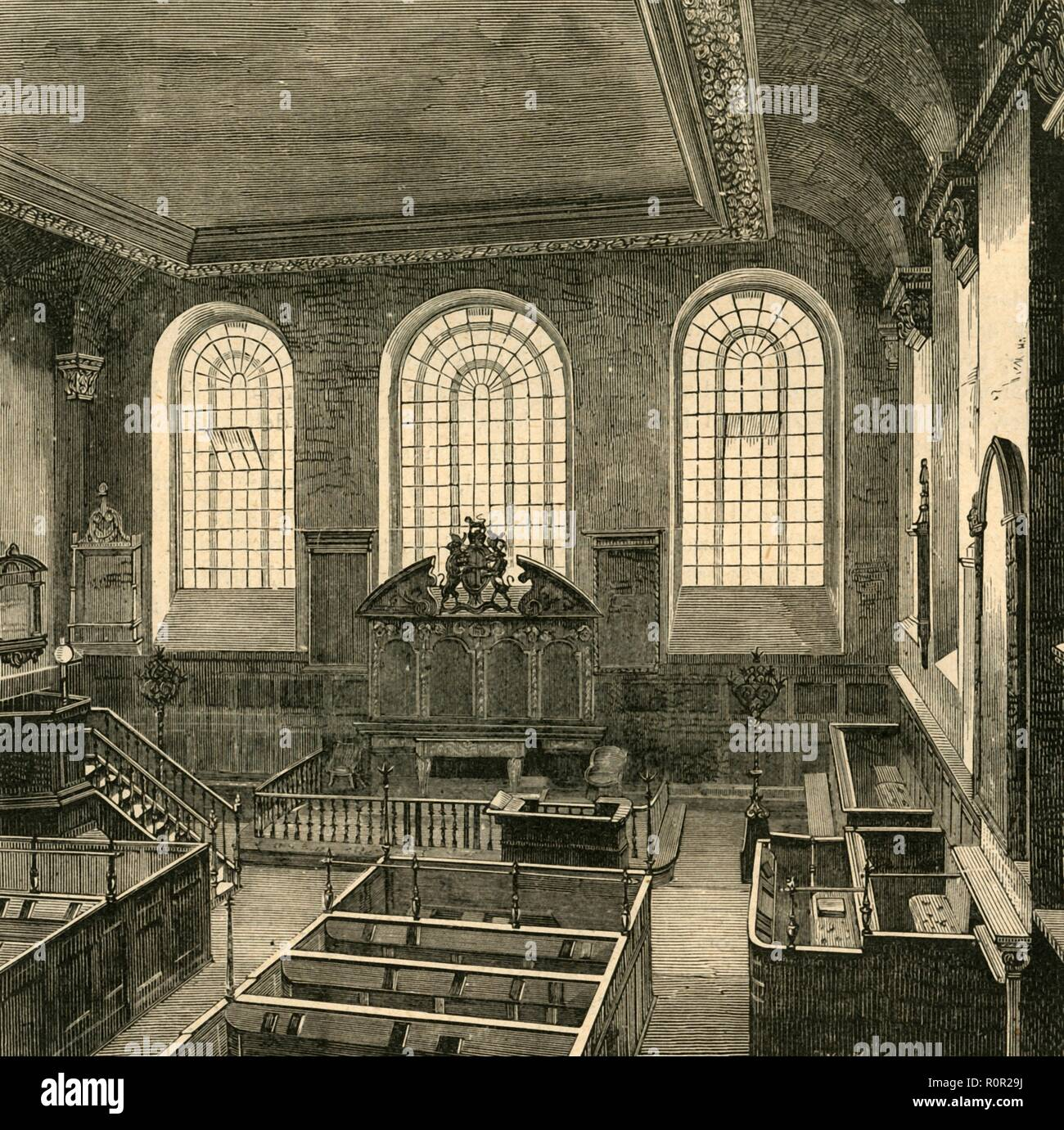 'Interior of St. Michael's, Wood Street, 1876', (1897). The church of St Michael Wood Street in the City of London, the burial site for the head of King James IV of Scotland (1473-1513). The building seen here was designed by Christopher Wren in 1673 after the previous church was destroyed in the Great Fire of 1666. From Old and New London, Volume I, by Walter Thornbury. [Cassell and Company, Limited, London, Paris & Melbourne, 1897] - Stock Image