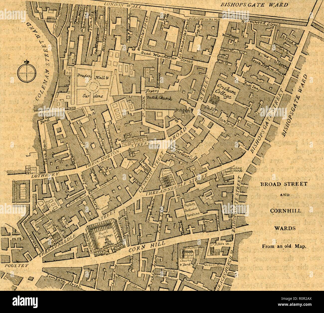 'Broad Street and Cornhill Wards', 1897. Map of part of the City of London from the mid 18th century, showing parish divisions. Places marked include the Royal Exchange and the Bank of England, and part of the old city walls. From Old and New London, Volume I, by Walter Thornbury. [Cassell and Company, Limited, London, Paris & Melbourne, 1897] - Stock Image