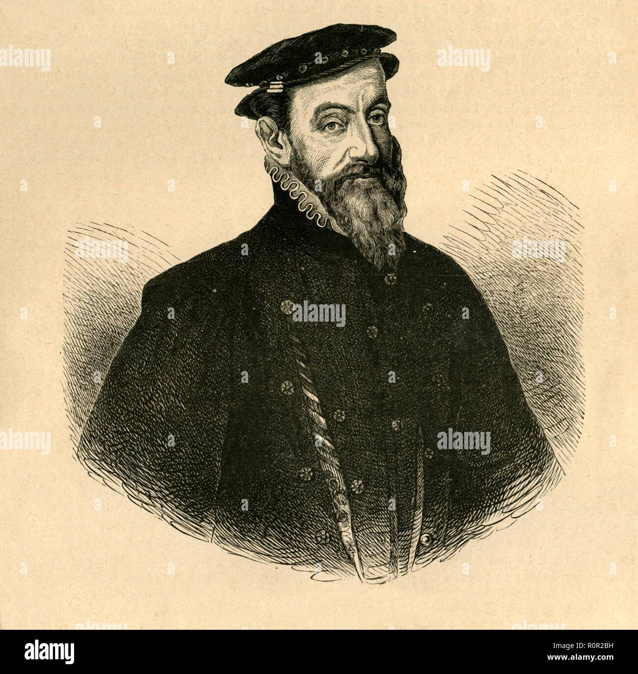 'Sir Thomas Gresham', (1897). English merchant and financier Gresham (c1519-1579) was the founder of the Royal Exchange in London. From Old and New London, Volume I, by Walter Thornbury. [Cassell and Company, Limited, London, Paris & Melbourne, 1897] Stock Photo