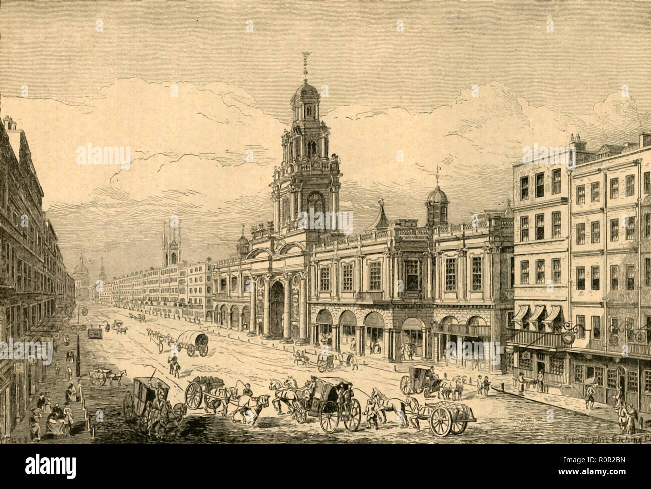'The Second Royal Exchange, Cornhill', (1897). The Royal Exchange was founded in the 16th century to act as a centre of commerce for the City of London. It was opened in 1571 by Queen Elizabeth I who awarded the building its royal title and a licence to sell alcohol. The first building was destroyed in the Great Fire of London in 1666, and was rebuilt by Edward Jarman in 1669, (seen here). This second building was also destroyed by a fire, in 1838. From Old and New London, Volume I, by Walter Thornbury. [Cassell and Company, Limited, London, Paris & Melbourne, 1897] - Stock Image