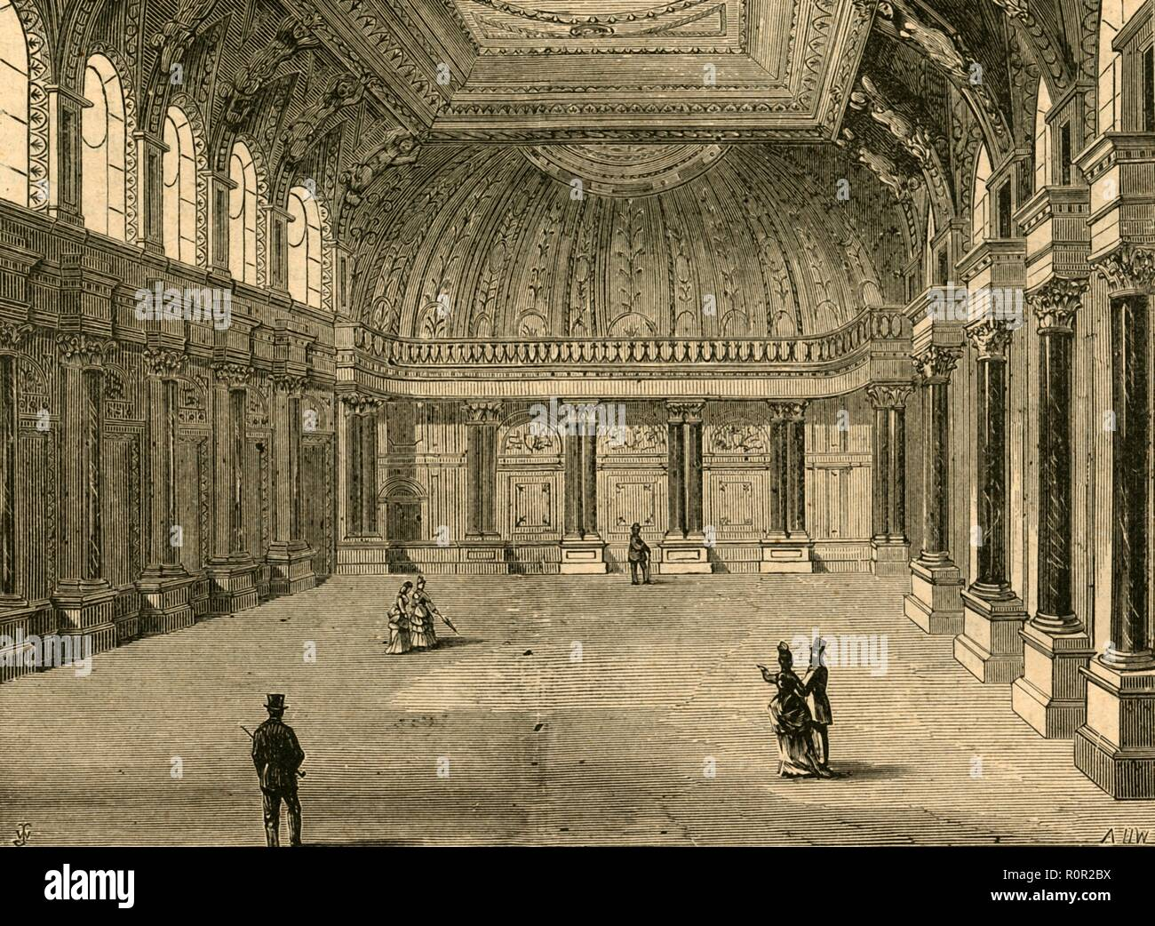 'Interior of Drapers' Hall', 1897. Headquarters of the Worshipful Company of Drapers, one of the livery companies of the City of London. The Hall was rebuilt twice, the first time after it was destroyed by the Great Fire in 1666, and again in 1772 after another fire which did considerable damage. In the 1860s, the frontage was changed and the interior altered by Herbert Williams. From Old and New London, Volume I, by Walter Thornbury. [Cassell and Company, Limited, London, Paris & Melbourne, 1897] - Stock Image