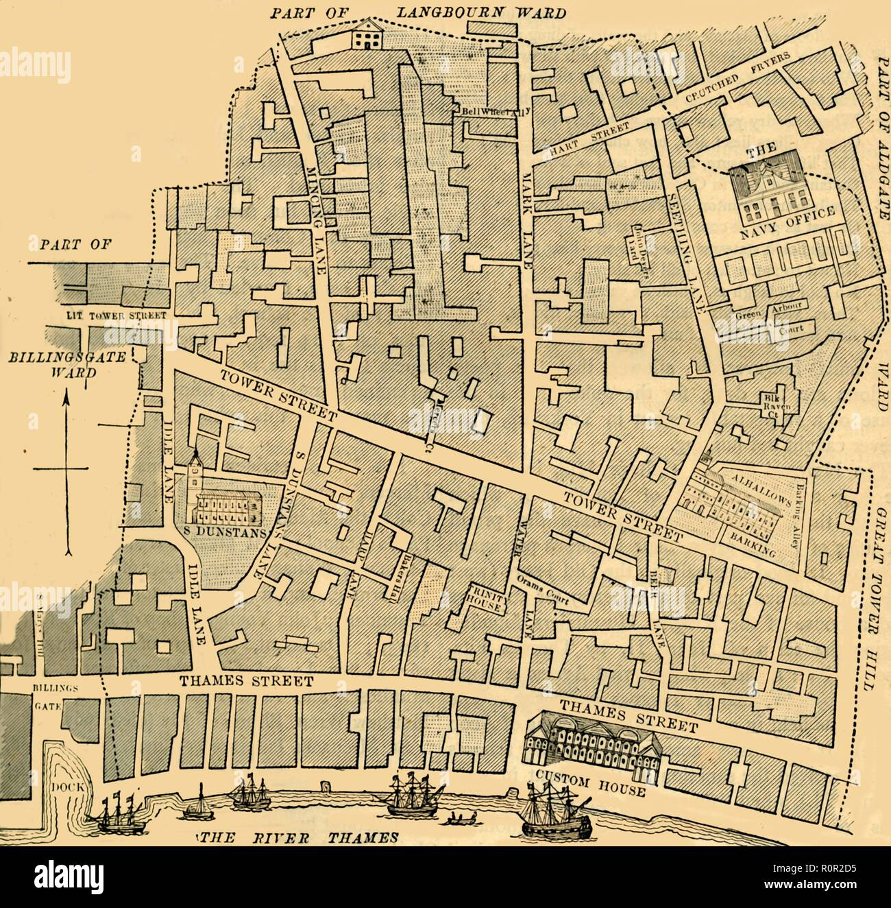 'Tower Street Ward', (c1872). Map dating from  1773, of part of the City of London, showing Custom House and ships on the River Thames. From Old and New London, Vol. II: A Narrative of Its History, Its People, and Its Places, by Walter Thornbury. [Cassell, Petter, Galpin & Co., London, Paris & New York] - Stock Image