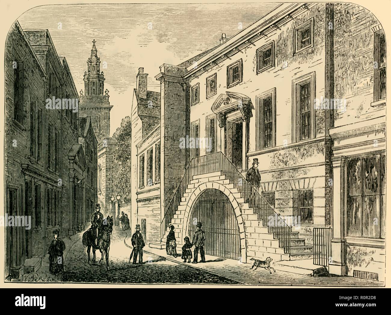 'Dyers' Hall', c1830, (c1872). Dyers' Hall, on the corner of College Street and Dowgate Hill, in the City of London, home of the Worshipful Company of Dyers. The building seen here was constructed c1770. From Old and New London, Vol. II: A Narrative of Its History, Its People, and Its Places, by Walter Thornbury. [Cassell, Petter, Galpin & Co., London, Paris & New York] - Stock Image