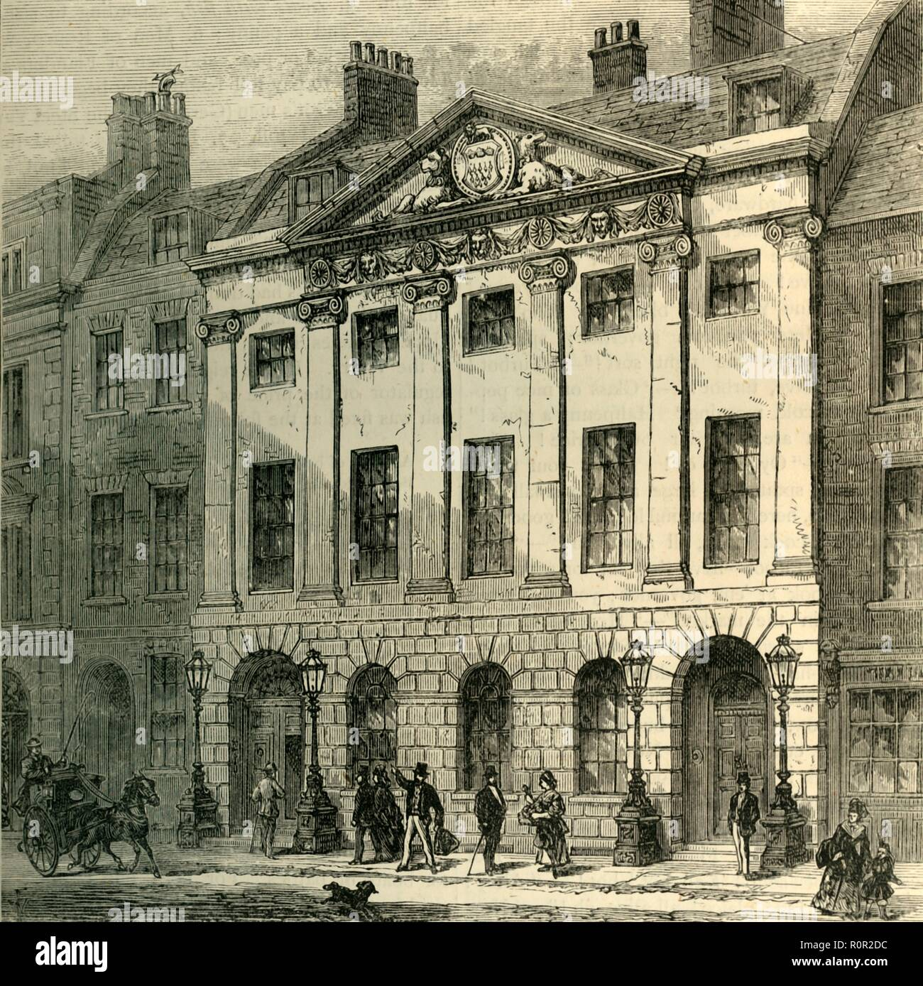 'Hall of the Skinners' Company', c1872. Skinners' Hall, Dowgate Hill, City of London, home of the Worshipful Company of Skinners. The building, designed by William Jupp, was constructed 1770-1790. From Old and New London, Vol. II: A Narrative of Its History, Its People, and Its Places, by Walter Thornbury. [Cassell, Petter, Galpin & Co., London, Paris & New York] - Stock Image