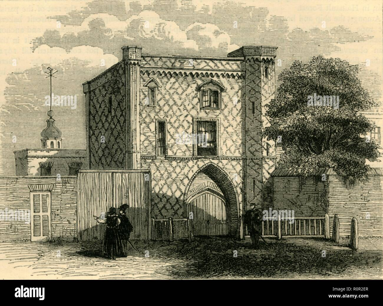 'Old Gateway at Stepney', (c1872). 'This House by Tradition is call'd King Johns Gate from what Authority is not known, but will serve as a specimen of Variegated Brick work. It is reputed to be the oldest House in Stepney. In this Village Edward the I held a Parliament Anno 1292 and in Doomsday Book it occurs as a Place of great Antiquity.' Brick building in Stepney, London, also known as St John's Gate. From Old and New London, Vol. II: A Narrative of Its History, Its People, and Its Places, by Walter Thornbury. [Cassell, Petter, Galpin & Co., London, Paris & New York] - Stock Image