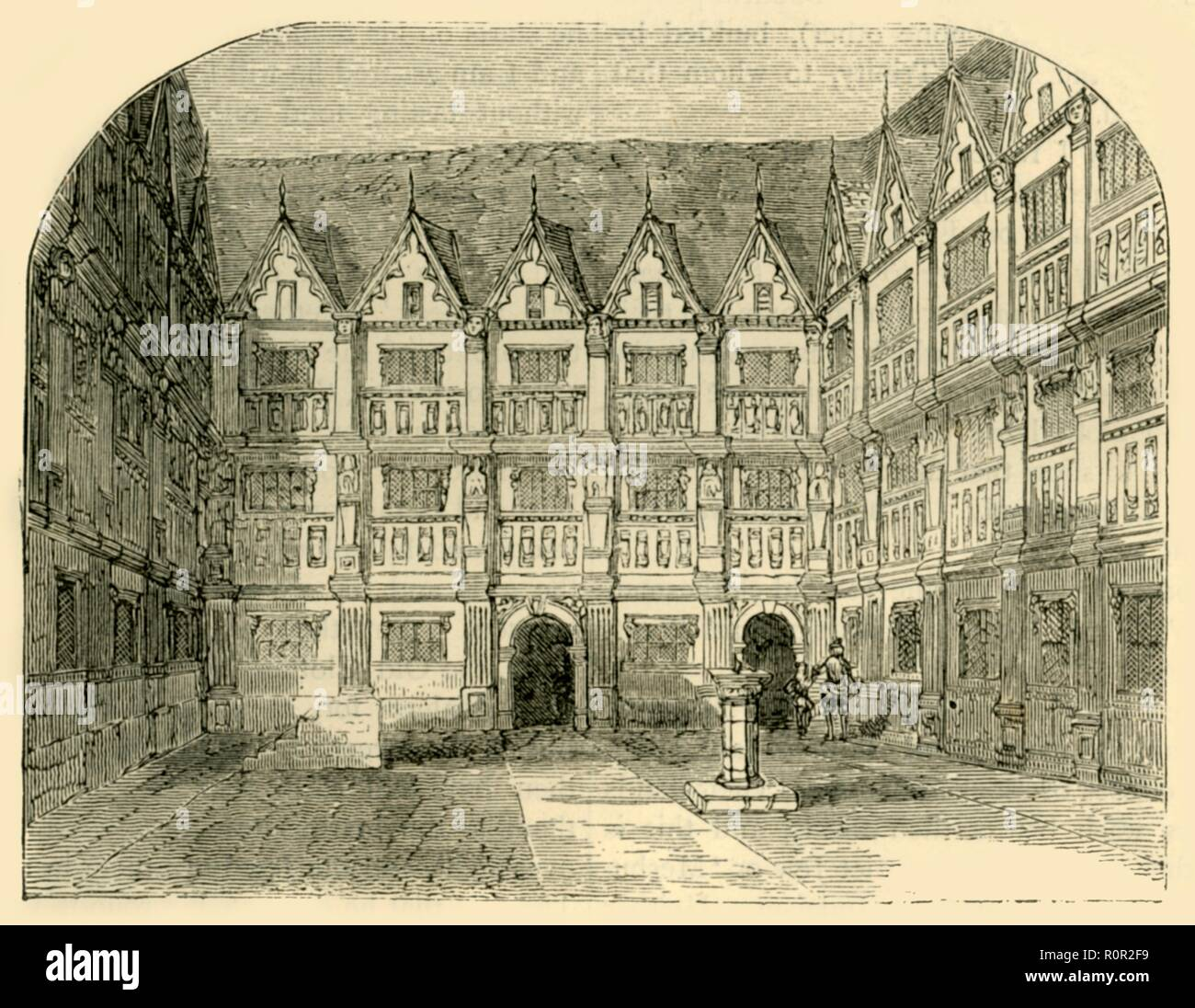 'Sir Thomas Gresham's House in Bishopsgate Street', (c1872). The 16th-century house of English merchant and financier Sir Thomas Gresham (c1519-1579). His will dictated that the house be used as a college, and Gresham College was established in the house in 1597. From Old and New London, Vol. II: A Narrative of Its History, Its People, and Its Places, by Walter Thornbury. [Cassell, Petter, Galpin & Co., London, Paris & New York] - Stock Image