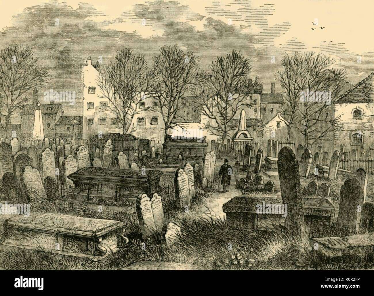 'Bunhill Fields Burial-Ground', c1872. Bunhill Fields in Finsbury, London, was used as a burial ground from 1665 until 1854. It was nondenominational, and notable graves include those of writers artists such as John Bunyan, Daniel Defoe and William Blake. In 1852, the Burial Act enabled burial grounds to be closed once they became full. From Old and New London, Vol. II: A Narrative of Its History, Its People, and Its Places, by Walter Thornbury. [Cassell, Petter, Galpin & Co., London, Paris & New York] - Stock Image