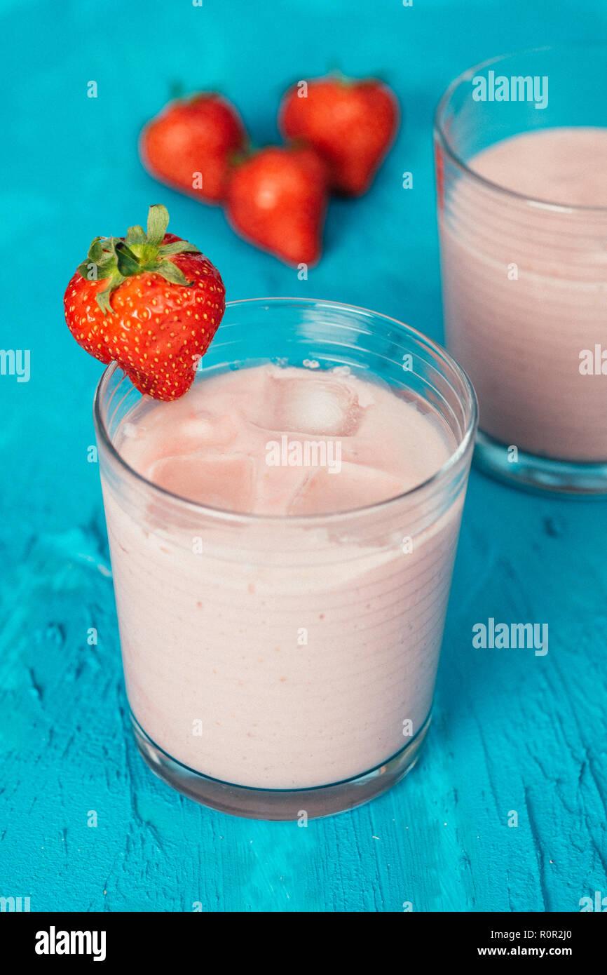 Vegan strawberry smoothie with almond milk and silken tofu Stock Photo