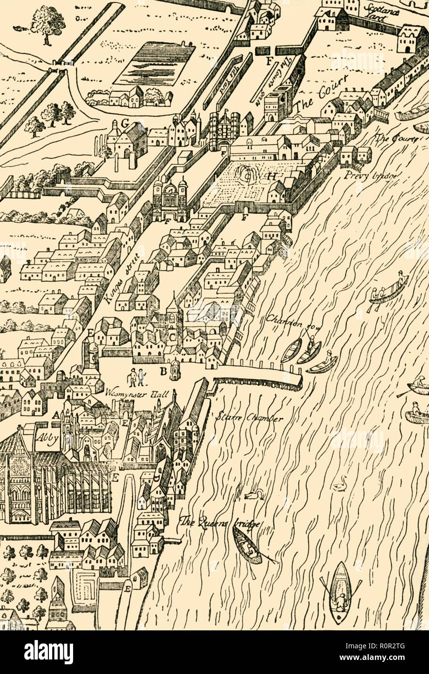 'Whitehall and Westminster. (From Aggas' Map)', (1881). Bird's eye view, by cartographer Ralph Agas (c1540-1621), of Whitehall Palace in the village of Westminster on the River Thames, now part of greater London. Buildings and landmarks shown include: Westminster Abbey, Westminster Hall, the 'Starre' Chamber, and Scotland Yard. From Old and New London: A Narrative of Its History, Its People, and Its Places. Westminster and the Western Suburbs, by Edward Walford, Vol. III. [Cassell, Petter, Galpin & Co., London, Paris & New York, 1881] - Stock Image