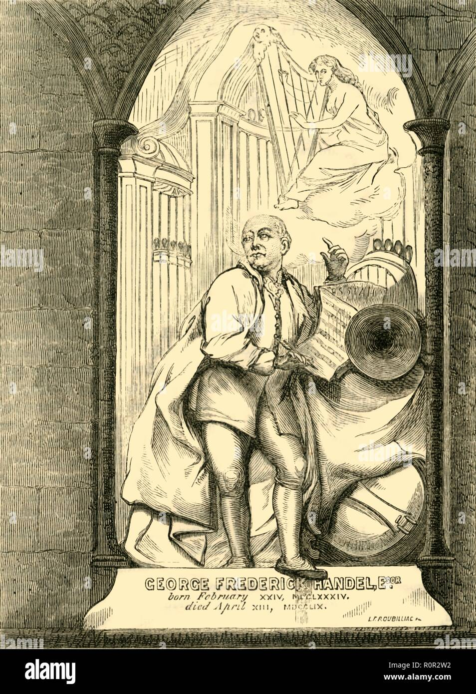 'Handel's Monument', (1881). Monument to the composer George Frederick Handel (1685-1759) by Roubiliac, at Westminster Abbey in London. An organ can be seen in the background while an angel plays a harp in the clouds above. From Old and New London: A Narrative of Its History, Its People, and Its Places. Westminster and the Western Suburbs, by Edward Walford, Vol. III. [Cassell, Petter, Galpin & Co., London, Paris & New York, 1881] - Stock Image