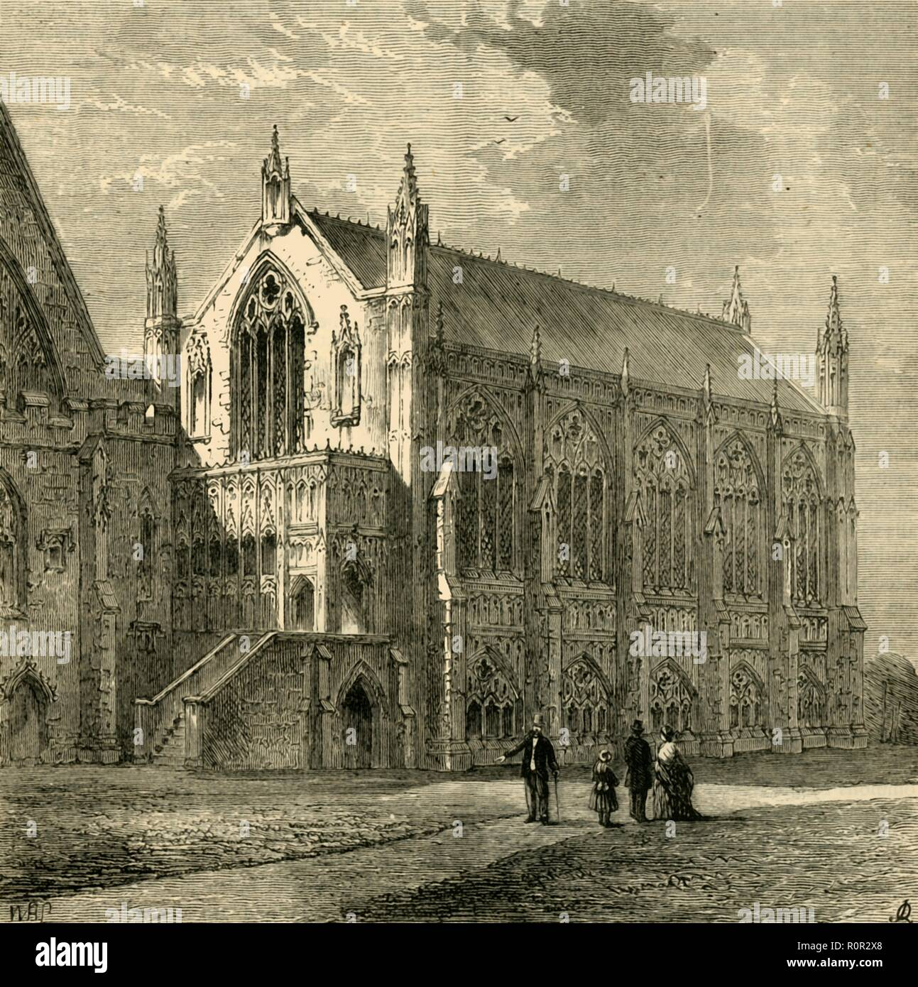 'St. Stephen's Chapel, 1830', (1881). St Stephen's Chapel, in the old Palace of Westminster in London, served as the chamber of the House of Commons of England and of Great Britain from 1547 to 1834. It was largely destroyed in the fire of 1834. From Old and New London: A Narrative of Its History, Its People, and Its Places. Westminster and the Western Suburbs, by Edward Walford, Vol. III. [Cassell, Petter, Galpin & Co., London, Paris & New York, 1881] - Stock Image