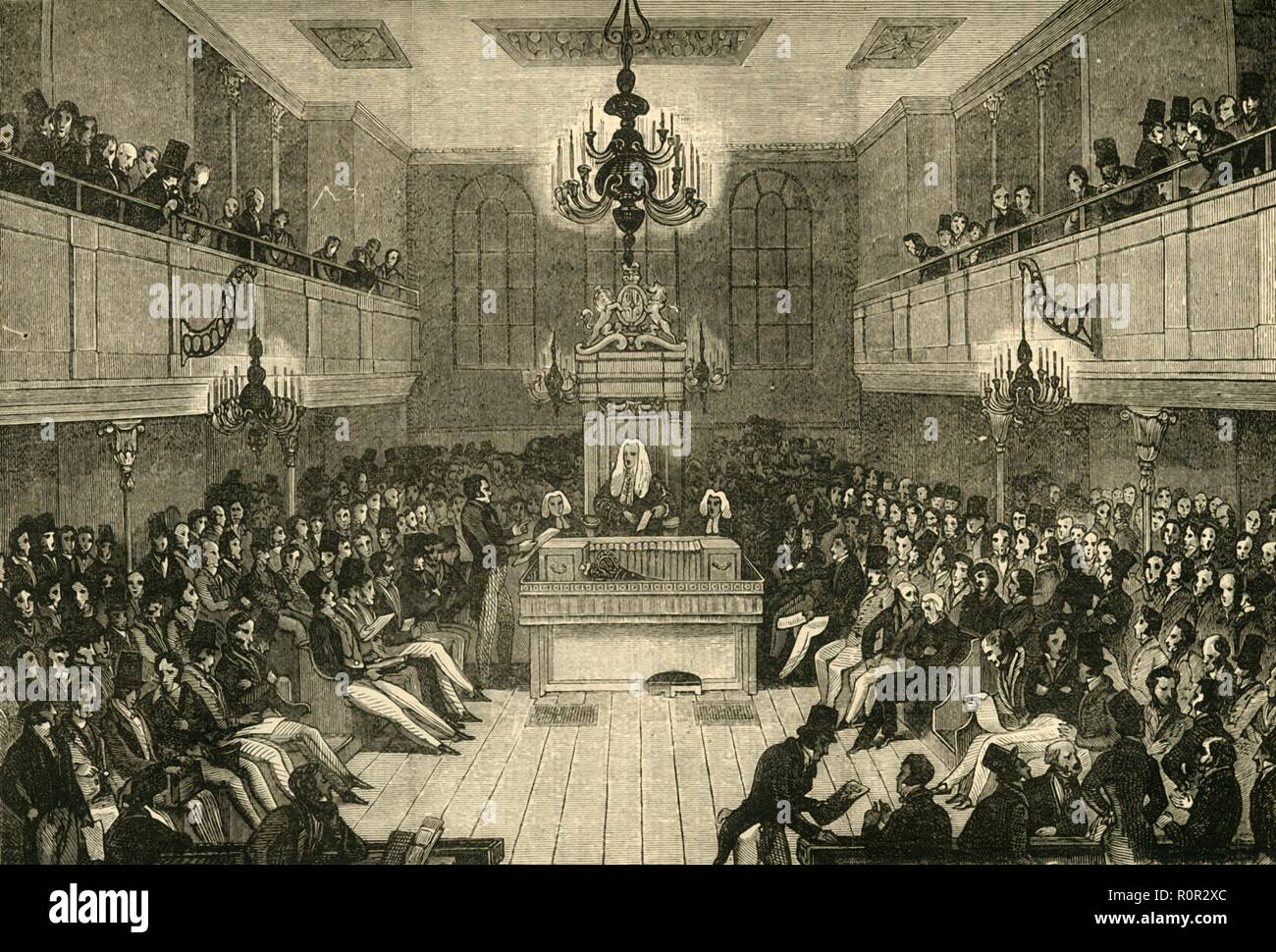 'Interior of the House of Commons, 1834', (1881). One of the two chambers in the Houses of Parliament in London. Much of the Palace of Westminster was destroyed in a fire in 1834. From Old and New London: A Narrative of Its History, Its People, and Its Places. Westminster and the Western Suburbs, by Edward Walford, Vol. III. [Cassell, Petter, Galpin & Co., London, Paris & New York, 1881] - Stock Image