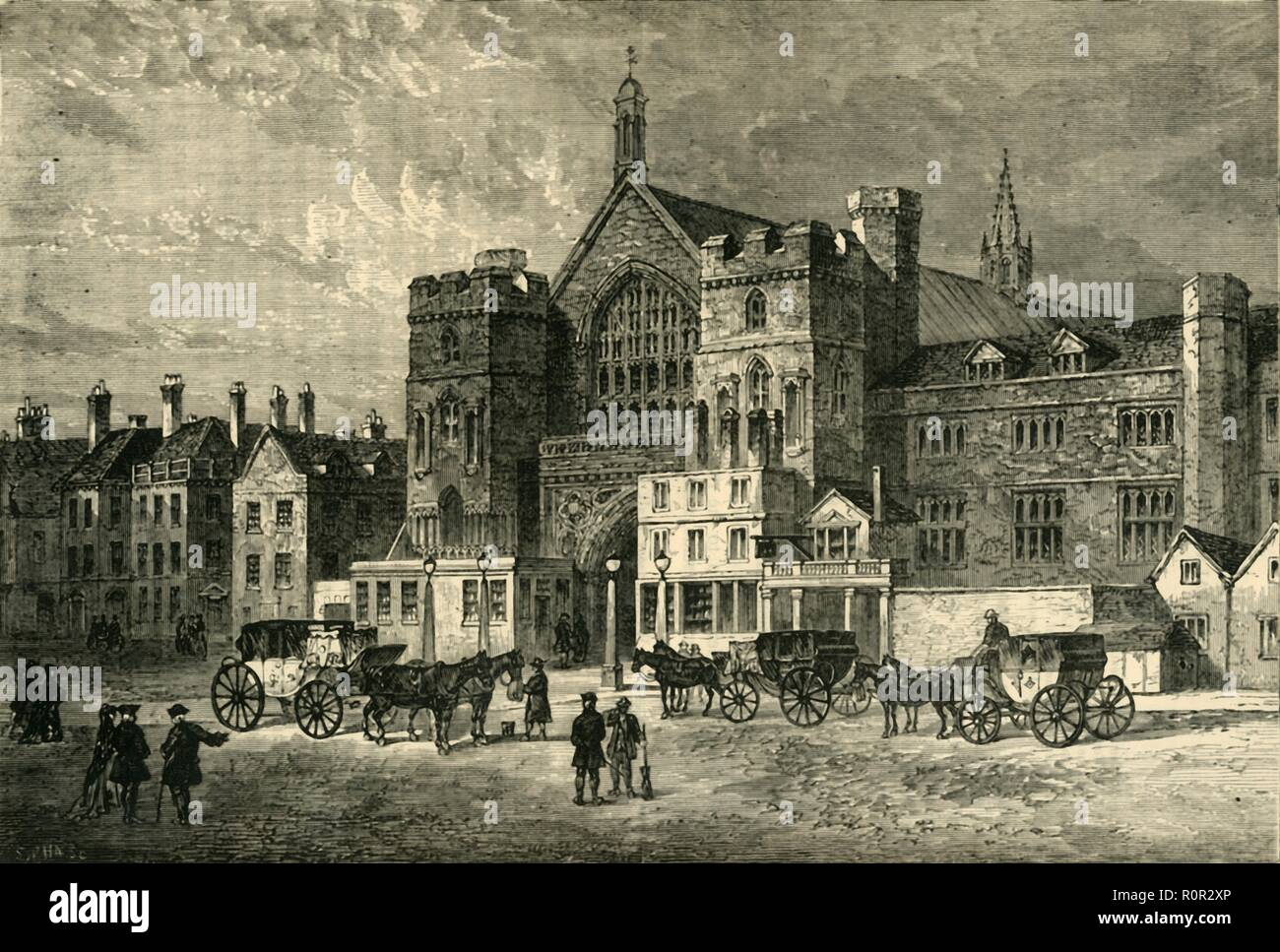 'Westminster Hall', (1881). Westminster Hall in London was completed in 1099. This view shows the Houses of Parliament in the late 18th century, before the fire of 1834 which destroyed most of the complex, the Hall being one of the few surviving buildings. From Old and New London: A Narrative of Its History, Its People, and Its Places. Westminster and the Western Suburbs, by Edward Walford, Vol. III. [Cassell, Petter, Galpin & Co., London, Paris & New York, 1881] - Stock Image