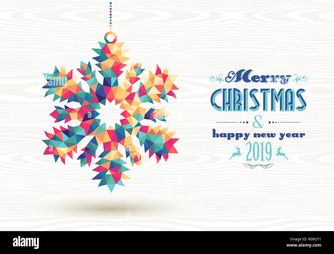 merry christmas and happy new year 2019 retro snowflake made with colorful hipster triangles background ideal for holiday greeting card poster or we