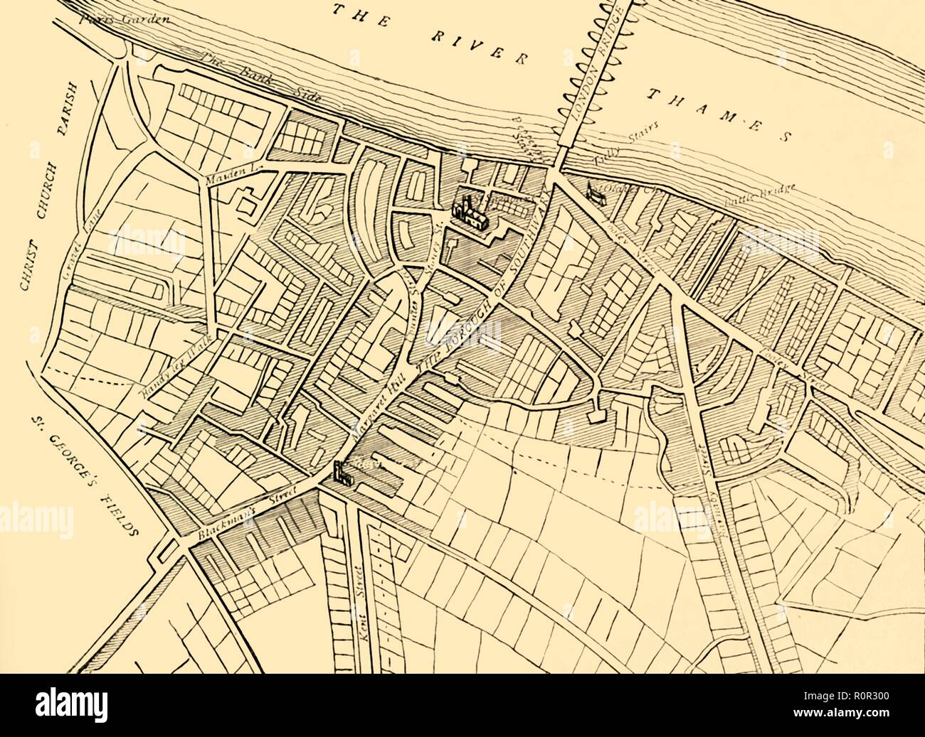 'Map of Southwark, 1720', (c1878). Map showing the village of Southwark on the south bank of the River Thames, in what is now part of greater London. Places shown include the Bank Side, London Bridge, Southwark Cathedral, St George's Fields and Bermondsey Street. From Old and New London: A Narrative of Its History, Its People, And Its Places. The Southern Suburbs, Volume VI, by Edward Walford. [Cassell, Petter, Galpin & Co., London, Paris & New York, c1878] - Stock Image