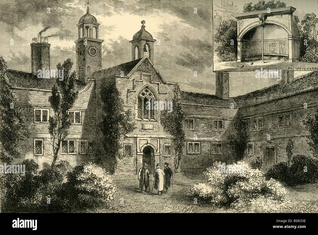 'The Fishmongers' Almshouses in 1850', (c1878). The Fishmongers' Almshouses, also known as St Peter's Hospital, in the village of Newington Butts, (now part of south London). Inset shows an alcove in the garden. St Peter's Hospital was built by the Worshipful Company of Fishmongers in 1615-1618. New buildings at East Hill in Wandsworth were put up in 1851 and the Newingoton almshouses were demolished. From Old and New London: A Narrative of Its History, Its People, And Its Places. The Southern Suburbs, Volume VI, by Edward Walford. [Cassell, Petter, Galpin & Co., London, Paris & New Yo - Stock Image