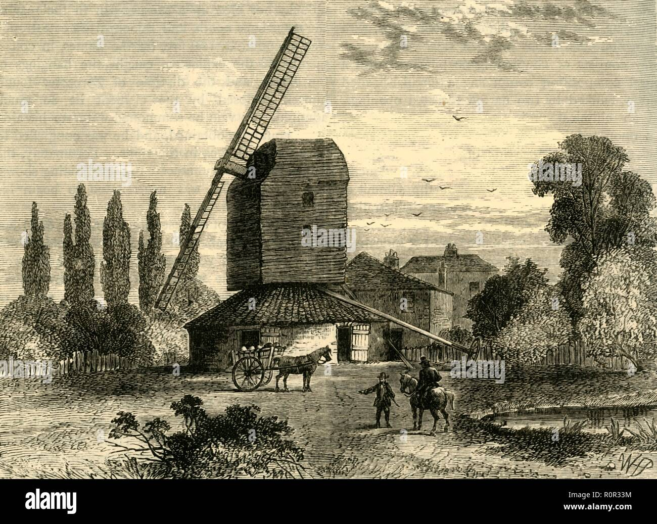 'Old Camberwell Mill', (c1878). Windmill in the village of Camberwell, (now part of south east London). Post mill first mentioned in 1709, which had fallen out of use by about 1831. From Old and New London: A Narrative of Its History, Its People, And Its Places. The Southern Suburbs, Volume VI, by Edward Walford. [Cassell, Petter, Galpin & Co., London, Paris & New York, c1878] - Stock Image