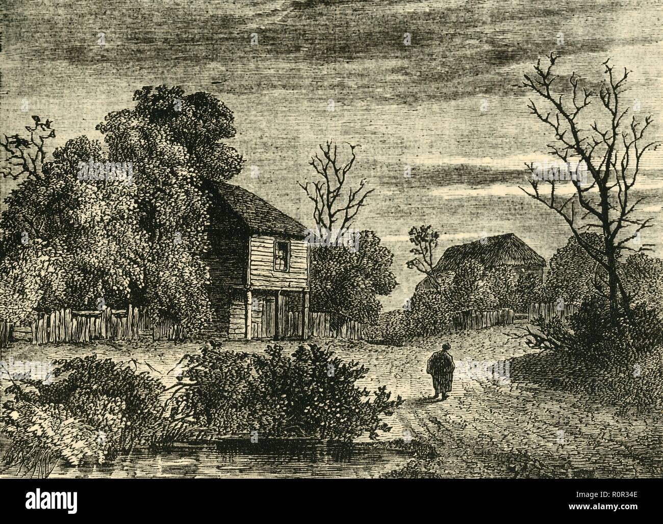 'Margaret Finch's Cottage, Norwood in 1808', (c1878). House in what was the village of Norwood, (now part of greater London), lived in by Margaret Finch, 'Queen of the Gipsies'. She apparently told fortunes, smoked a pipe, and lived till 108. From Old and New London: A Narrative of Its History, Its People, And Its Places. The Southern Suburbs, Volume VI, by Edward Walford. [Cassell, Petter, Galpin & Co., London, Paris & New York, c1878] - Stock Image
