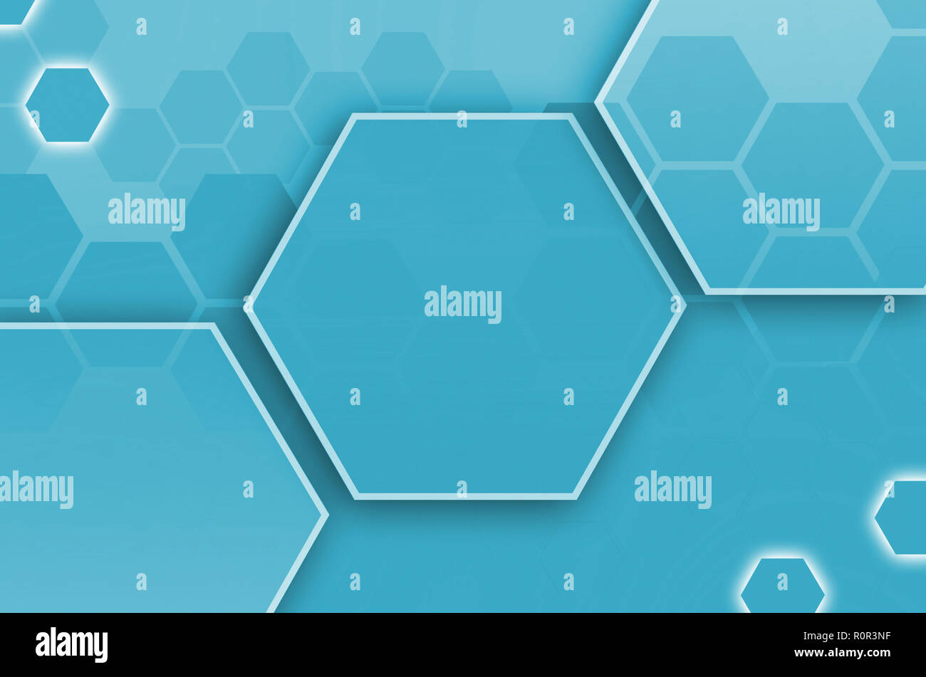 Abstract technological background consisting of a set of hexagons and other geometric shapes in blue color - Stock Image