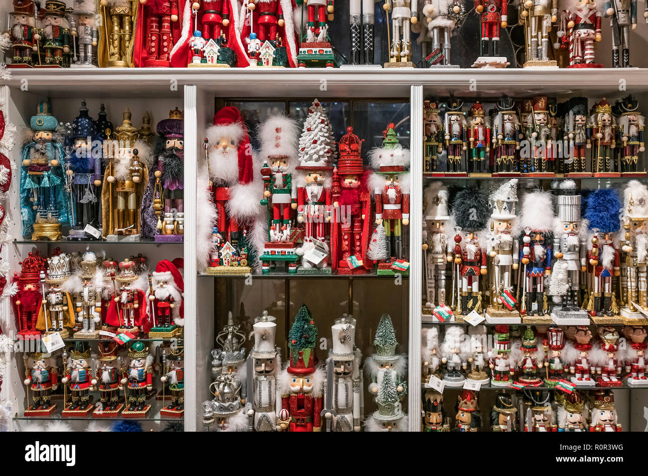 Wide selection of nutcracker figurines at the Yankee Candle flagship store, South Deerfield, Massachusetts, USA. - Stock Image