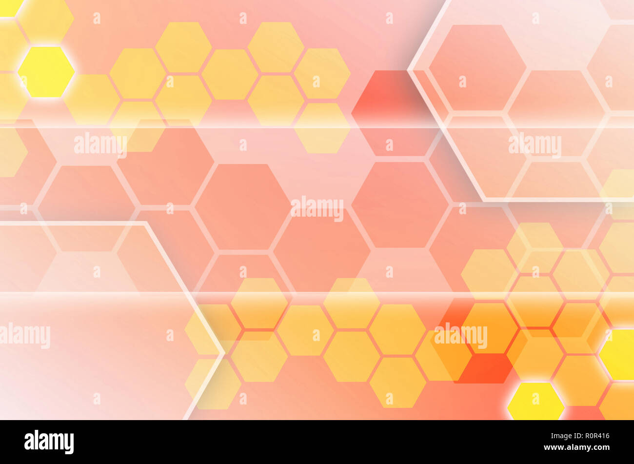 Abstract technological background consisting of a set of hexagons and other geometric shapes in orange color - Stock Image