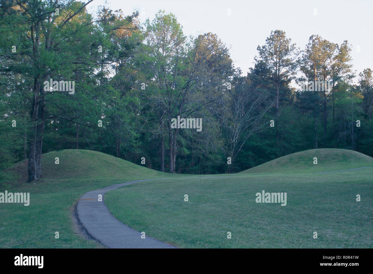 Bynum Mounds, dated 100 BC-200 AD, Natchez Trace, Mississippi. Photograph - Stock Image