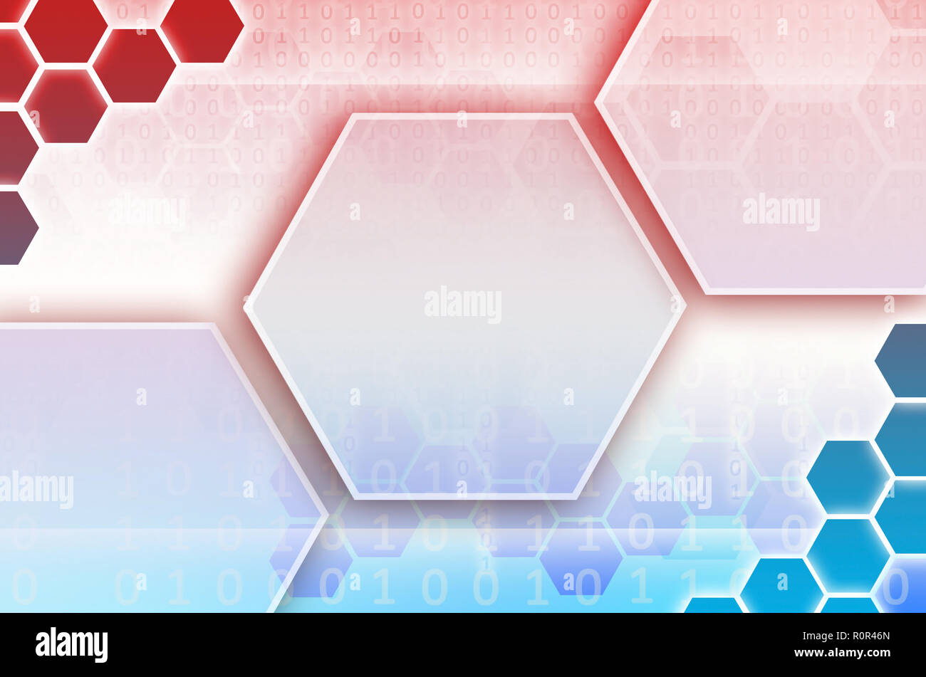 Abstract technological background consisting of a set of hexagons and other geometric shapes in blue and red color - Stock Image