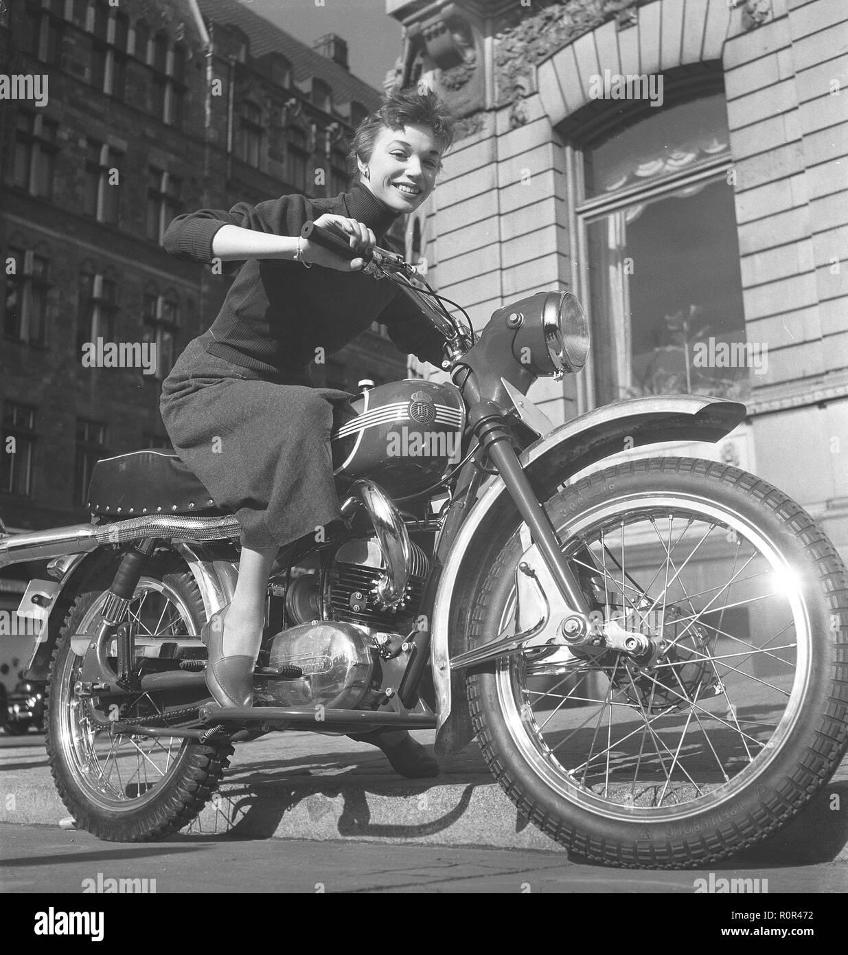 Margit Carlqvist , swedish actress, born 1932, pictured here on a Husqvarna motorcycle model 281 sport, 1954. Photo Kristoffersson Ref BO53-6 - Stock Image