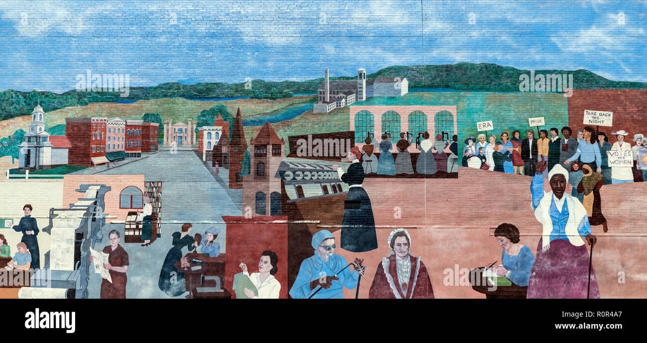 Historic mural of Northampton, Massachusetts, USA. - Stock Image