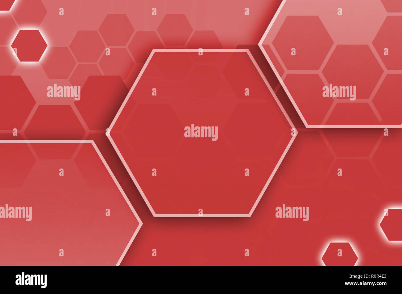 Abstract technological background consisting of a set of hexagons and other geometric shapes in red color - Stock Image