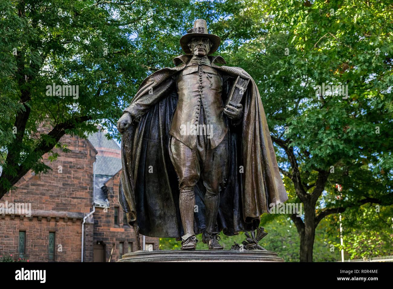 The Puritan Statue in Springfield Massachusetts, USA. - Stock Image