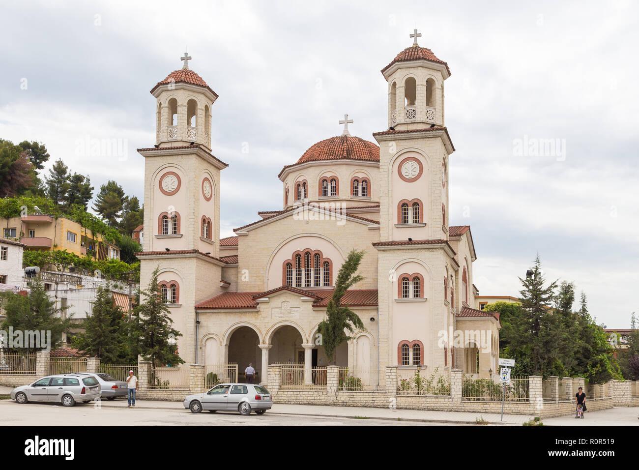 Berat, Albania- 30 June 2014: Saint Dymitr, the Orthodox cathedral in Berat. The main temple of the metropolis of Berat. - Stock Image