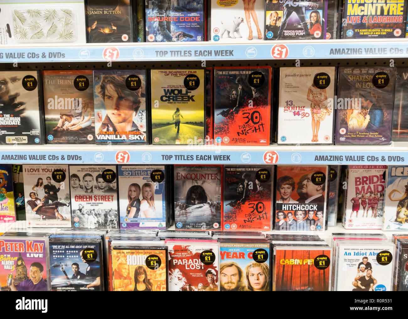 'Refurbished' DVD`s in Poundland store, UK - Stock Image