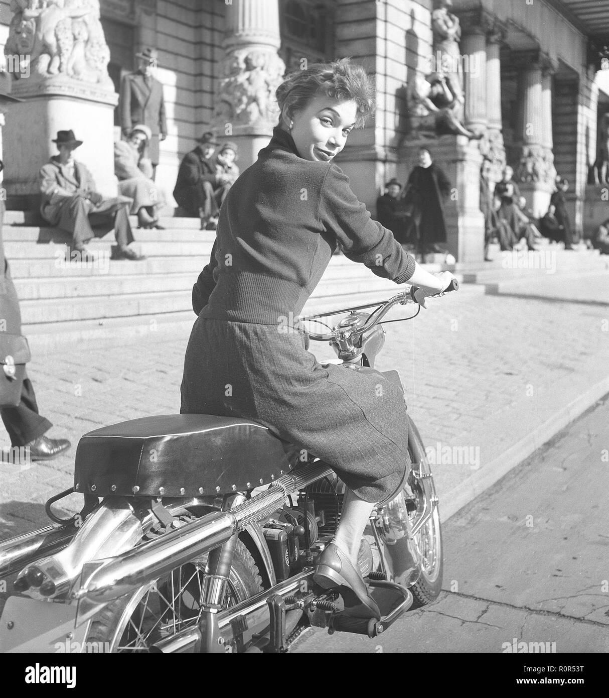 Margit Carlqvist , swedish actress, born 1932, pictured here on a Husqvarna motorcycle model 281 sport, 1954. Photo Kristoffersson Ref BO63-1 - Stock Image