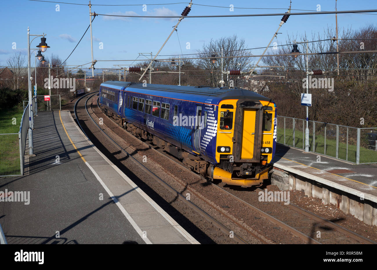 A Abellio Scotrail  class 156 diesel 2 carriage sprinter train at Troon railway station, Ayrshire - Stock Image