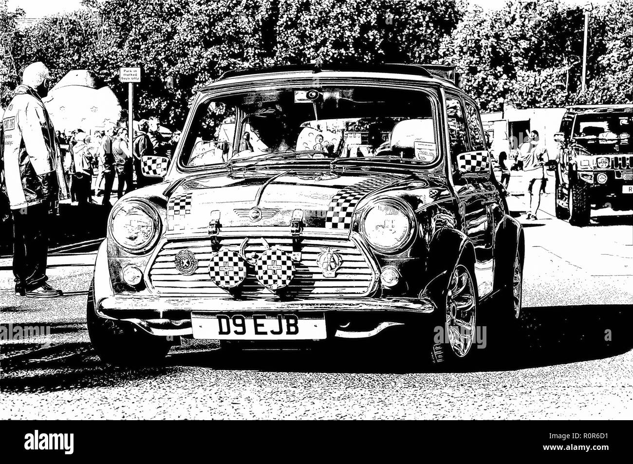 Digital pen & ink sketch of an Austin Mini on show at the Giffnock Village Classic Car Show, Glasgow, Scotland UK - Stock Image